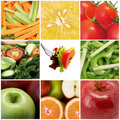 Fruit and vegetables collage Stock Photos