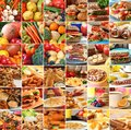 Fruit and vegetables collage of healthy fruits Stock Image