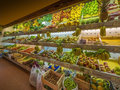 Fruit and vegetables fresh produce in small indoor market Stock Photos