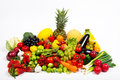 Fruit and vegetables fresh on the white background Royalty Free Stock Image