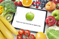 Fruit Vegetables Healthy Diet Tablet App Royalty Free Stock Photo