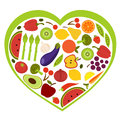 Fruit and vegetables heart shape Royalty Free Stock Photos