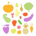 Fruit and vegetables icons colorful in cartoon style Royalty Free Stock Photo