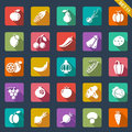 Fruit and vegetables icons flat design set of Royalty Free Stock Image