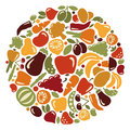 Fruit and vegetables icons of in the form of a circle Stock Image