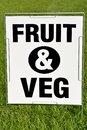 Fruit and vegetables outdoor sign in farmers market on green grass background concept photo of healthy lifestyle food Royalty Free Stock Photo