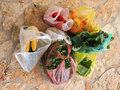Fruit and Vegetables Purchased at Greek Street Market Royalty Free Stock Photo