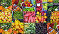 Fruit and Vegetables for Sale, Colourful Collage Royalty Free Stock Photo