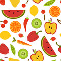 Fruit and vegetables seamless pattern Royalty Free Stock Photos
