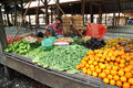Fruit and vegetables shop in myanmar market bagan march woman sell morning traditional every day on march bagan city Stock Photos