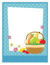 Fruit and veggie basket flyer with filled with fruits vegetables Royalty Free Stock Photography