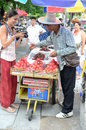 Fruit vendor in bangkok tourist and thailand Royalty Free Stock Photography
