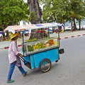 Fruit vendor pushing his cart. Royalty Free Stock Image