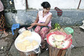 Fruit vendor street yangon myanmar burma Royalty Free Stock Photo