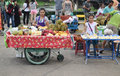 Fruit vendor in thailand sitting down with her baskets kanchanaburi Royalty Free Stock Photos