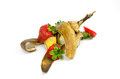Fruit waste on a white background strawberry and banana Royalty Free Stock Image