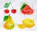 Fruit watercolor cherry lemon strawberry pear set drawn blots and stains with a spray Royalty Free Stock Images