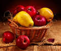 Fruit in wicker basket. Stock Photography