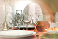 Fruit wine glasses in a restaurant table setting Royalty Free Stock Photo