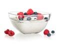Fruit yoghurt isolated Royalty Free Stock Photo