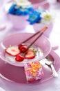 Fruit yogurt with small gift Royalty Free Stock Photos