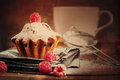 Fruitcake decorated with raspberry and icing sugar at the wooden table tonal Stock Photos