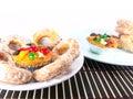 Fruitcake en sugar donut Stock Afbeeldingen