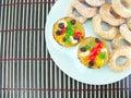 Fruitcake en sugar donut Royalty-vrije Stock Foto's