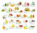Fruits abc vector set. Exotic tropical fruits, vegetable alphabet. Litchi, Mango, rambutan, dragon fruit. Royalty Free Stock Photo