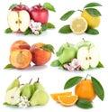 Fruits apple orange lemon peach apples oranges fresh fruit colle Royalty Free Stock Photo