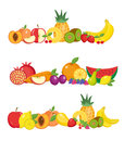 Fruits banner set. and berries horizontal poster. collection template for restaurant menu