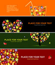 Fruits banners horizontal for your design Royalty Free Stock Photo