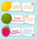 Fruits banners set. Colorful template for cooking