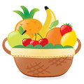 Fruits in a basket illustration of filled with fresh Stock Images