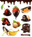 Fruits and berries in chocolate. Cherry, strawberries, banana, orange and hazelnuts. 3d vector set