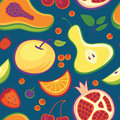 Fruits and berries pattern Stock Images
