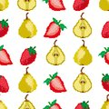 Fruits and berries.Pears and strawberries seamless pattern. Pixel embroidery. Square. Vector