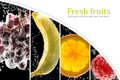 Fruits and berries photo collage into the glass with soda wate surrounded by bubbles copy space Royalty Free Stock Image