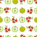 Fruits and berries.Seamless pattern of apples and berries. Pixel. Embroidery. Vector