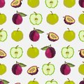 Fruits and berries.Seamless pattern of apples and plums. Pixel. Embroidery. Vector