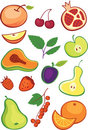 Fruits and berries set Stock Image