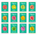 Fruits and berries sketched cards. Hand drawn labels set for packaging etc. Vector illustrations of organic, eco food.