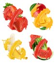 Fruits and berries in splash of juice. Mango, banana, watermelon, strawberry. 3d vector Royalty Free Stock Photo