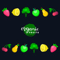 Fruits and berries vector illustration in flat style for eco food logos,organic products signs. Healthy meal icons set. Royalty Free Stock Photo