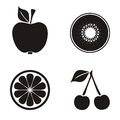 Fruits black fruit icons collection on white background Stock Images
