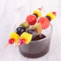 Fruits and chocolate sauce fruit skewer Stock Photography