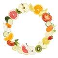 Fruits circle shape texture vegetables food diet concept