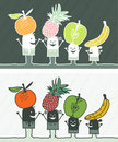 Fruits colored cartoon Stock Photo