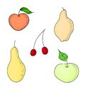 Fruits design elements set eps vector contains green apple pears red apple and vinous cherry Royalty Free Stock Images