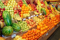 Fruits on a farm market and vegetables Stock Images